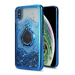 iPhone XS Max New Liquid Quicksand Case With Ring Blue