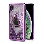 iPhone XS Max New Liquid Quicksand Case With Ring Purple