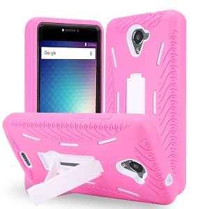 BLU R1 Plus R0071UU Heavy Duty Case With Kickstand Pink/White