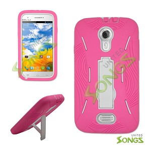 Blu Studio 5.0 Heavy Duty Case with Kickstand High Pink/White
