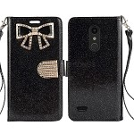 LG K30 Sparkle Diamond Wallet Case With Butterfly Design Black
