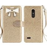 LG K30 Sparkle Diamond Wallet Case With Butterfly Design Gold