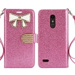 LG K30 Sparkle Diamond Wallet Case With Butterfly Design Pink