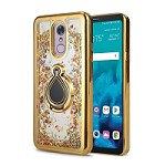 LG Stylo 5 New Liquid Quicksand Case With Ring Gold