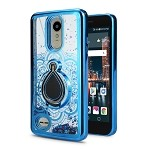 LG Tribute Dynasty SP200/Aristo 2 X210MA New Liquid Quicksand Case With Ring Blue