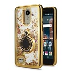 LG Tribute Dynasty SP200/Aristo 2 X210MA New Liquid Quicksand Case With Ring Gold