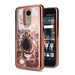 LG Tribute Dynasty SP200/Aristo 2 X210MA New Liquid Quicksand Case With Ring Rose Gold
