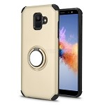 Samsung Galaxy A6 2018 New Hybrid Case With Ring Holder Kickstand Gold