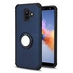 Samsung Galaxy A6 2018 New Hybrid Case With Ring Holder Kickstand Blue