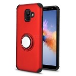 Samsung Galaxy A6 2018 New Hybrid Case With Ring Holder Kickstand Red