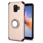 Samsung Galaxy A6 2018 New Hybrid Case With Ring Holder Kickstand Rose Gold