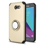 Samsung Galaxy J3 Prime/J3 Emerge/J3 2017 J327 New Hybrid Case With Ring Holder Kickstand Gold