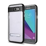 Samsung Galaxy J3 Prime/J3 Emerge/J3 2017 J327 New Transparent Protective Case With Kickstand Black