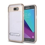 Samsung Galaxy J3 Prime/J3 Emerge/J3 2017 J327 New Transparent Protective Case With Kickstand Gold