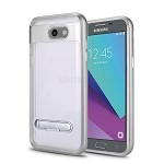 Samsung Galaxy J3 Prime/J3 Emerge/J3 2017 J327 New Transparent Protective Case With Kickstand Silver