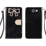 Samsung Galaxy J3 Prime/J3 Emerge/J3 2017 J327 Sparkle Diamond Wallet Case With Butterfly Design Black