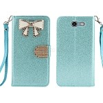 Samsung Galaxy J3 Prime/J3 Emerge/J3 2017 J327 Sparkle Diamond Wallet Case With Butterfly Design Blue