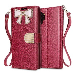 Samsung Galaxy Note 10 Plus Sparkle Wallet Case With Diamond Butterfly Design Pink