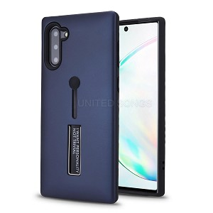 Samsung Galaxy Note 10 New Hybrid Finger Grip Case With Kickstand Blue