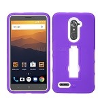 ZTE Max XL N9560/ZMax Pro Z981/ Blade X Max Z983 Heavy Duty Case With Kickstand Purple/White