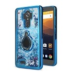 ZTE Max XL N9560/Zmax Pro Z981 New Liquid Quicksand Case With Ring Blue