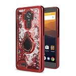 ZTE Max XL N9560/Zmax Pro Z981 New Liquid Quicksand Case With Ring Red