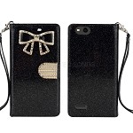 ZTE Tempo X N9137 Sparkle Wallet Case With Diamond Butterfly Design Black