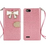 ZTE Tempo X N9137 Sparkle Wallet Case With Diamond Butterfly Design Light Pink