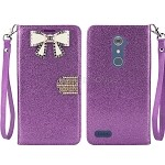 ZTE  Zmax Pro Z981/Max XL N9560 Sparkle Diamond Wallet Case With Butterfly Design Purple