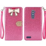 ZTE  Zmax Pro Z981/Max XL N9560 Sparkle Diamond Wallet Case With Butterfly Design Pink