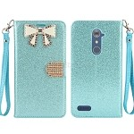 ZTE  Zmax Pro Z981/Max XL N9560 Sparkle Diamond Wallet Case With Butterfly Design Blue