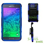 Samsung Galaxy Alpha G850 Heavy Duty Case With Kickstand Blue/Black
