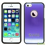 iPhone 5 5S Metal Back Case Purple/Black