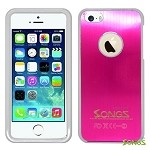 iPhone 5 5S Metal Back Case Pink/White