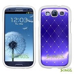 Samsung Galaxy S3 S III i9300 Metal Stars Case Purple/White