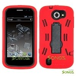 ZTE Flash N9500 (Sprint) Heavy Duty Case with Kickstand Red/Black