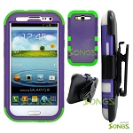 Samsung Galaxy S3 S III i9300 (for any Carriers)  Heavy Duty Case with Clip Purple/Green