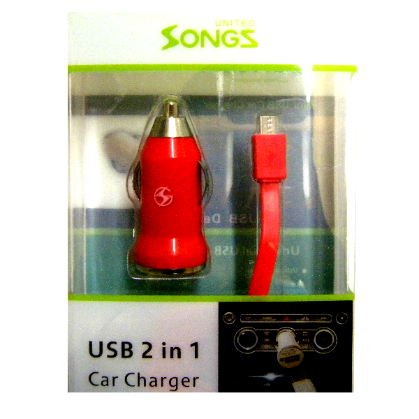 Micro/V8/V9 2 in 1 Car Charger Red