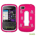 BlackBerry Q10 (AT&T, T-Mobile, Verizon, Sprint) Heavy Duty Case with Kickstand Pink/White