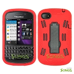BlackBerry Q10 (AT&T, T-Mobile, Verizon, Sprint) Heavy Duty Case with Kickstand Red/Black