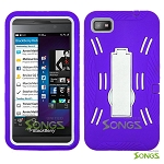 BlackBerry Z10 (AT&T, T-Mobile, Verizon, Sprint) Heavy Duty Case with Kickstand Purple/White