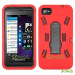 BlackBerry Z10 (AT&T, T-Mobile, Verizon, Sprint) Heavy Duty Case with Kickstand Red/Black