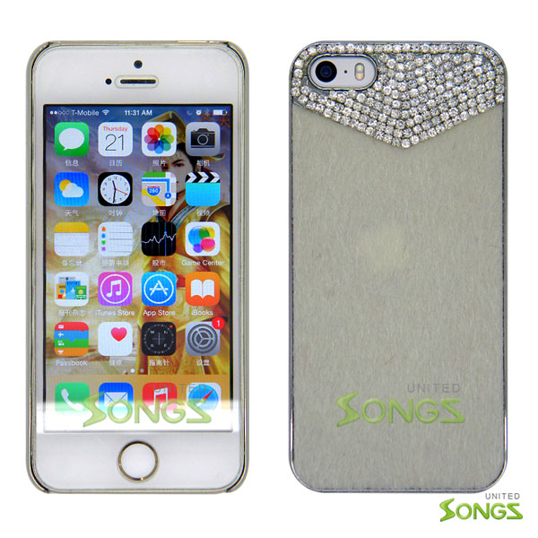 iPhone 5 5S Luxury Fur with Bling Crystals Rhinestones Case White