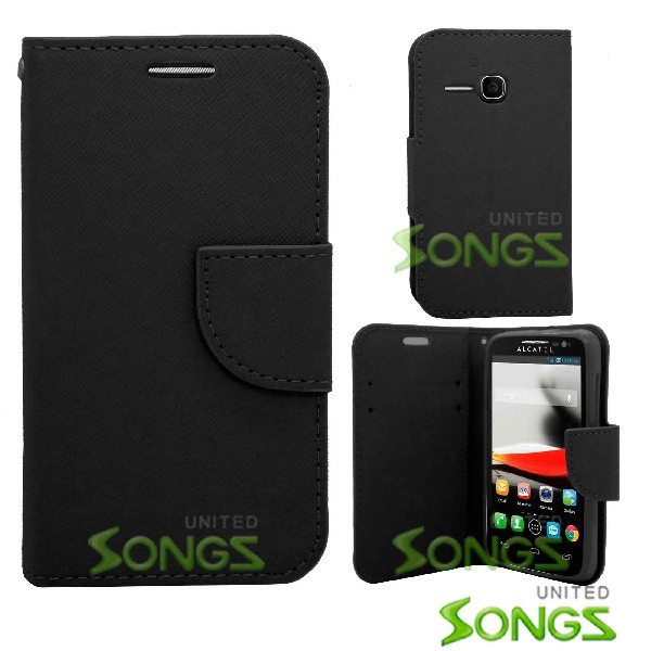 Alcatel One Touch Evolve/5020T Wallet Case Black