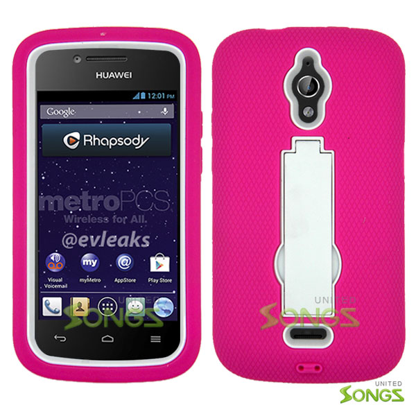 Huawei Vitria H882L(MetroPCS, Straight Talk) Y301 A2 Heavy Duty Case with Kickstand Pink/White