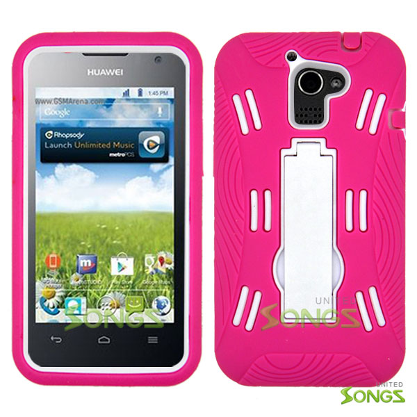 Huawei Premia 4G M931 (MetroPCS) Heavy Duty Case with Kickstand Pink/White