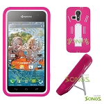 Kyocera Hydro VIBE C6725 (Sprint, Virgin Mobile) Heavy Duty Case with Kickstand Pink/White