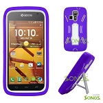 Kyocera Hydro ICON C6730(Boost Mobile) Hydro LIFE C6530(T-Mobile) Heavy Duty Case with Kickstand Purple/White