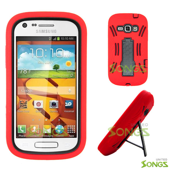 Samsung Galaxy Prevail 2 Galaxy Ring M840 Heavy Duty Case with Kickstand Red/Black