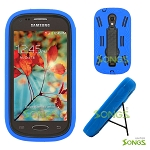 Samsung Galaxy Light T399 Heavy Duty Case with Kickstand Blue/Black